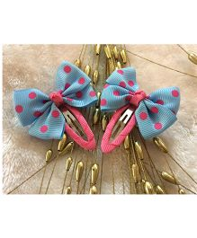 Angel Closet Polka Dots Bow Clips - Blue & Pink