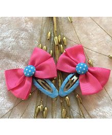 Angel Closet Colorful Bow Clips - Pink & Blue