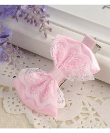 Angel Closet Lace Bow Clip - Pink
