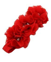 Bellazaara Triple Flower Rhinestone Headband - Red