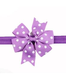 Bellazaara Polka Dots Bow Headband - Purple