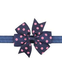 Bellazaara Polka Dots Bow Headband - Blue