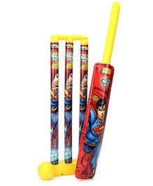 DC Comics Superman Plastic Cricket Set - Red And Yellow