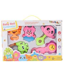 Animal Face Baby Rattle Set Pack Of 5 - Pink And Multi Color