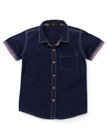 Robo Fry Solid Shirt With Chest Pocket - Blue