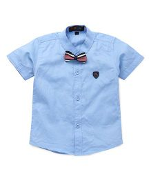 Robo Fry Half Sleeves Shirt With Tie Bow - Sky Blue