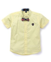 Robo Fry Half Sleeves Shirt With Tie Bow - Lemon Yellow