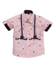Robo Fry Party Wear Half Sleeves Printed Shirt - Pink
