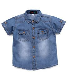 Robo Fry Shaded Denim Shirt With Pockets - Light Blue