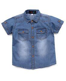 Robo Fry Shaded Denim Shirt With Pockets - Light Blue