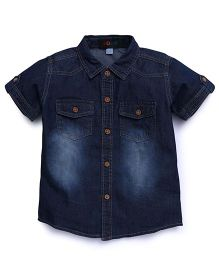 Robo Fry Shaded Denim Shirt With Pockets - Dark Blue