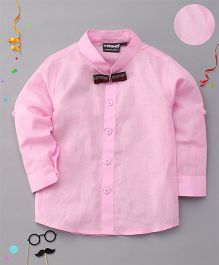 Robo Fry Full Sleeves Shirt With Bow - Pink