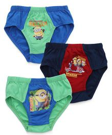 Minions Printed Briefs Pack of 3 - Blue Green Red
