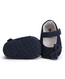 Ivee Denim Shoes With Cute Bow - Dark Blue