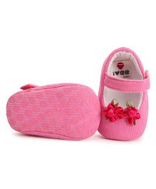 Ivee Baby Soft Sole Pretty Shoes With Flower - Pink