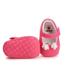 Ivee Baby Soft Sole Pretty Shoes With Flower - Dark Pink