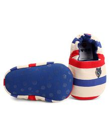 Ivee Baby Anti Skid Soft Sole Shoes With Stripes - Blue