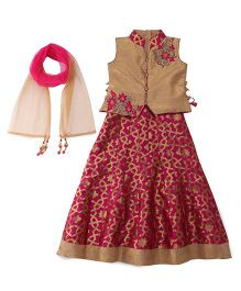 Bluebell Sleeveless Choli And Lehenga With Dupatta Studded Detailing - Pink Golden