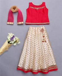 Bluebell Sleeveless Choli And Lehenga With Dupatta With Embellishments - Dark Pink Cream