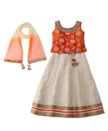Bluebell Sleeveless Choli And Lehenga With Dupatta Studded Detailing - Orange Cream