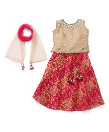Bluebell Sleeveless Choli And Lehenga With Dupatta Mirror Detailing - Beige Fuchsia
