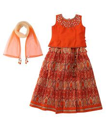 Bluebell Sleeveless Choli And Lehenga With Dupatta Mirror Detailing - Orange Beige