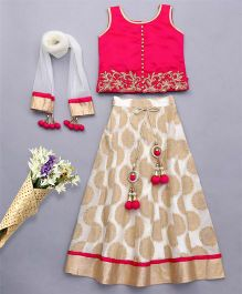 Bluebell Sleeveless Choli And Lehenga With Dupatta - Pink Beige
