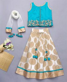 Bluebell Sleeveless Choli And Lehenga With Dupatta - Aqua Green Beige