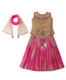 Bluebell Sleeveless Choli And Lehenga With Dupatta - Beige Dark Pink