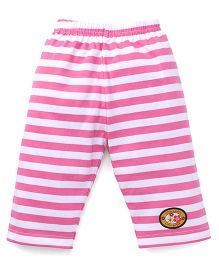 Bodycare Capri Leggings Stripes Print & Patch - Pink & White