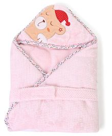 1st Step Hooded Blanket Bear Embroidery - Pink