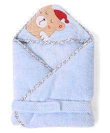 1st Step Hooded Blanket Bear Embroidery - Blue