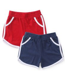 Babyhug Solid Color Shorts Pack Of 2 - Red & Navy Blue