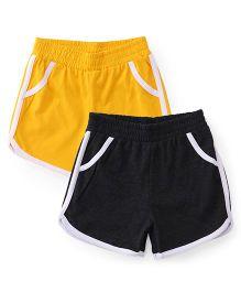 Babyhug Solid Color Shorts Pack Of 2 - Yellow & Dark Grey