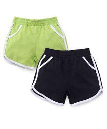 Babyhug Solid Color Shorts Pack Of 2 - Black & Green