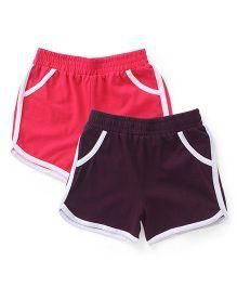 Babyhug Solid Color Shorts Pack Of 2 - Pink & Dark Purple