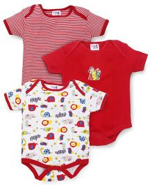 Kidi Wav Animal Kingdom & Light Strips Body Suits Pack Of 3 - Red