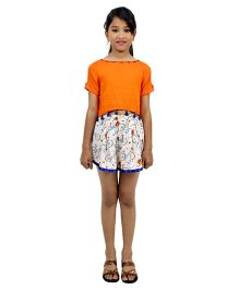 Ribbon N Frill Cold Shoulder Top And Shorts Set Cycles Print - Orange White