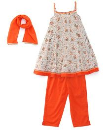 Ribbon N Frill Singlet Kurti And Salwaar With Dupatta Floral Print - Cream & Orange