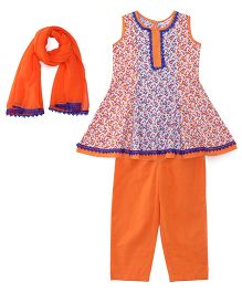 Ribbon N Frill Sleeveless Kurti And Salwaar With Dupatta Floral Print - Blue & Orange