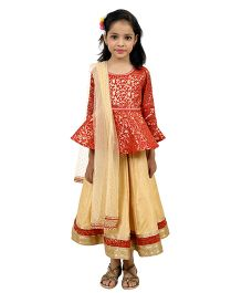 Ribbon N Frill Ghagra Choli With Dupatta - Red Cream