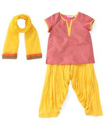 Ribbon N Frill Kurti Patiala Salwar With Dupatta - Red & Yellow