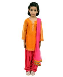 Ribbon N Frill Kurti Patiala Salwar With Dupatta - Orange & Pink