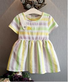 Pre Order - Awabox Colourful Stripe Dress - Yellow