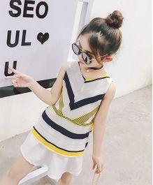 Pre Order - Awabox Multi Stripe Smart Casual Dress - White & Yellow