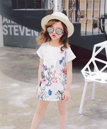 Pre Order - Awabox Flower Print Dress - White