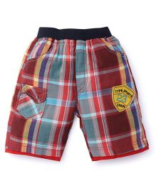 Cucumber Check Shorts Sports Patch - Red Blue