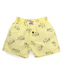 Palm Tree Casual Shorts Sharks Print - Yellow