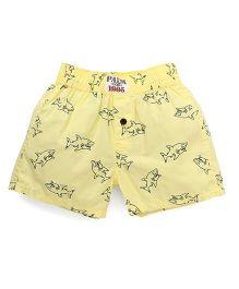 Palm Tree Casual Shorts Sharks Print - Yellow