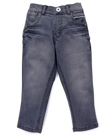 Palm Tree Full Length Stone Wash Jeans - Greyish Blue